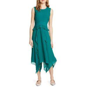 CLUB MONACO Green Lochin Swiss Dot Midi Dress